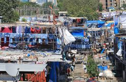 Dhobi Ghat laundromat cityscape Mumbai India. Dhobi Ghat laundromat traditional life Mumbai India Royalty Free Stock Photos