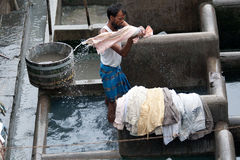 Dhobi Ghat Laundry. People at Dhobi Ghat, the world's largest outdoor laundry on June 24, 2010 in Mumbai, India Royalty Free Stock Photography