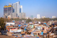 Dhobi Ghat. MUMBAI, INDIA - 08 JANUARY 2015: View of skyscrapper being built close to Dhobi ghat Royalty Free Stock Photos
