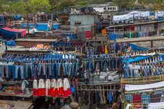 Dhobi Ghat Mumbai Laundry. Dhobi Ghat is a well known open air laundromat in Mumbai, India. The washers, known as dhobis, work in the open to clean clothes and Stock Photo
