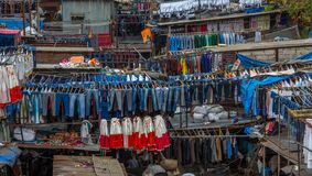 Dhobi Ghat Mumbai Laundry. Dhobi Ghat is a well known open air laundromat in Mumbai, India. The washers, known as dhobis, work in the open to clean clothes and Royalty Free Stock Images