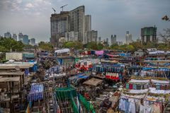Dhobi Ghat Mumbai Laundry. Dhobi Ghat is a well known open air laundromat in Mumbai, India. The washers, known as dhobis, work in the open to clean clothes and Royalty Free Stock Photos