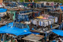 Dhobi Ghat at Mumbai. MUMBAI, INDIA - JULY,10 2016 : Famous Laundry in Mumbai - Dhobi Ghat Royalty Free Stock Images