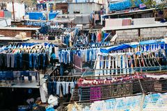 Dhobi ghat laundromat in Mumbai, India. Dhobi ghat open air laundromat in Mumbai, India Stock Image