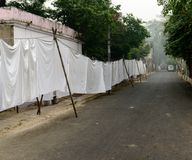 Sheets hanging at Dhobi Ghat - traditional laundry in India. Dhobi Ghat - traditional laundry in India. New Delhi Stock Images