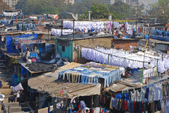Dhobi Ghat is a well known open air laundromat in Mumbai, India. This is a popular tourist attraction among foreigners and regarded as the world`s largest stock photo