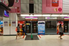Dhoby Ghaut MRT Train Station Platform in Singapore Royalty Free Stock Photography
