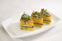 Dhokla with Chees. Indian Food Dhokla with Chees Royalty Free Stock Image