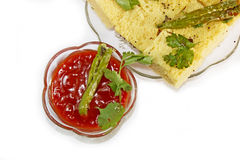 Dhokla with tomato-ketchup & green chilli Royalty Free Stock Photo