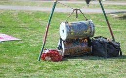 Dhol o tamburo indiano con la nappa Immagini Stock