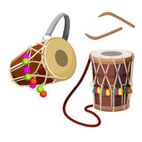 Dhol types of double-headed drum and wooden sticks vector illustration. Isolated on white. Two sided barrel drum played as accompanying device in regional music Royalty Free Stock Image