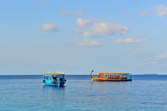 Dhoni anchored on Laccadive sea of Maldives Stock Photography