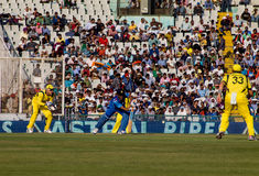 Dhoni batting. MS Dhoni plays a shot. In the One Day international cricket match played at Chandigarh, Mohali between India and Australia Royalty Free Stock Photos