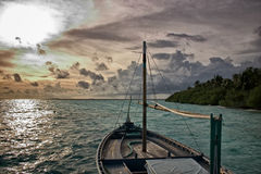 Dhoni in Sunset. Maldivian Dhoni in Sunset, Indian Ocean Stock Image