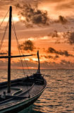 Dhoni in Sunset. Maldivian Dhoni in Sunset, Indian Ocean Stock Images