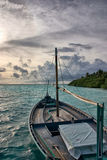 Dhoni in Sunset. Maldivian Dhoni in Sunset, Indian Ocean Royalty Free Stock Photo