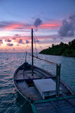 Dhoni in Sunset. Maldivian Dhoni in Sunset, Indian Ocean Royalty Free Stock Photography
