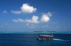 Dhoni - traditional maldivian boat. Ari Atol, Maldives Royalty Free Stock Photos