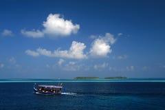 Dhoni - traditional maldivian boat. Ari Atol, Maldives Stock Photography