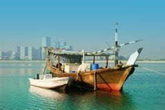 Dhow. Traditional Boat in Sharjah Lagoon Royalty Free Stock Photo