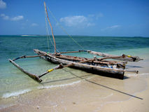 Dhow on beach. A fishing dhow on the beach in Zanzibar stock photography