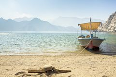 Dhow boat near the Musandam royalty free stock photos