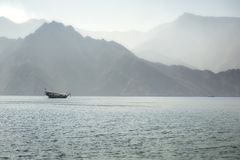 Dhow boat near the Musandam stock images
