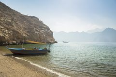 Dhow boat near the Musandam royalty free stock photography