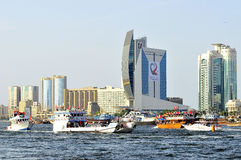 Dhow Cruise Parade during 38th UAE National Day Stock Images
