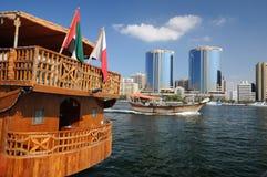 Dhow de madera en Dubai Creek Fotos de archivo libres de regalías