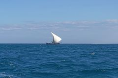 Dhow. Sail boat in Indian ocean near Africa Royalty Free Stock Images
