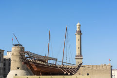 Dhow on display at Dubai museum Royalty Free Stock Photo