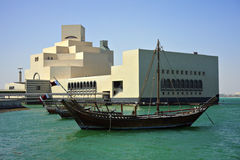 Dhow and Doha museum qatar Stock Photography