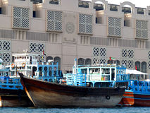Dhow in Dubai Creek. Traditional Dhow (Boats) used for Transporting Trade in Dubai Creek Stock Images