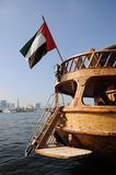Dhow with Emirates Flag in Dubai Stock Images