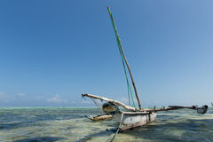 Dhow Fishing Boat on the Indian Ocean, Zanzibar, Tanzania Royalty Free Stock Images
