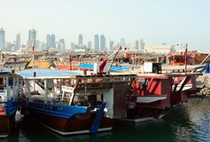 Dhow harbour and Doha skyline Royalty Free Stock Photo
