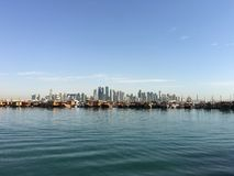 Dhow Harbour and the Doha skyline Stock Photo