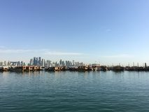 Dhow Harbour and the Doha skyline Royalty Free Stock Photography