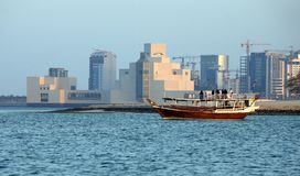 Dhow and Islamic Museum royalty free stock photography