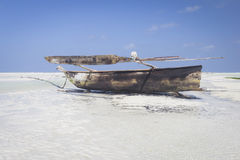 Dhow at low tide Stock Photo