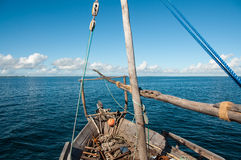 Dhow in Ocean. Dhow on the Indian Ocean in the Quirimbas Archipelago of Northern Mozambique Stock Photo