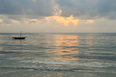 Dhow on the ocean at sunrise Royalty Free Stock Photography