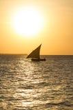 Dhow på solnedgången royaltyfri bild