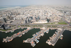 Dhow Port & Cityscape Of Old Dubai Stock Photo