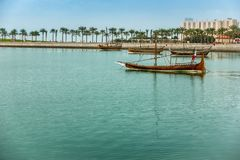Dhow port in Doha royalty free stock photo