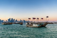 Dhow port in Doha royalty free stock image