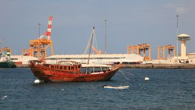 Dhow in the port of Muscat, Oman. Traditional wooden dhow in the port of Muscat, Sultanate of Oman, Middle East stock video footage
