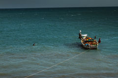 Dhow with produce in the ocean, Zanzibar Royalty Free Stock Photography