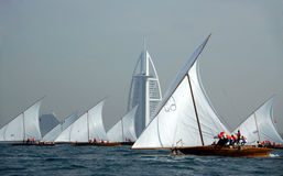 Dhow Sailing To Burj Al Arab Stock Image